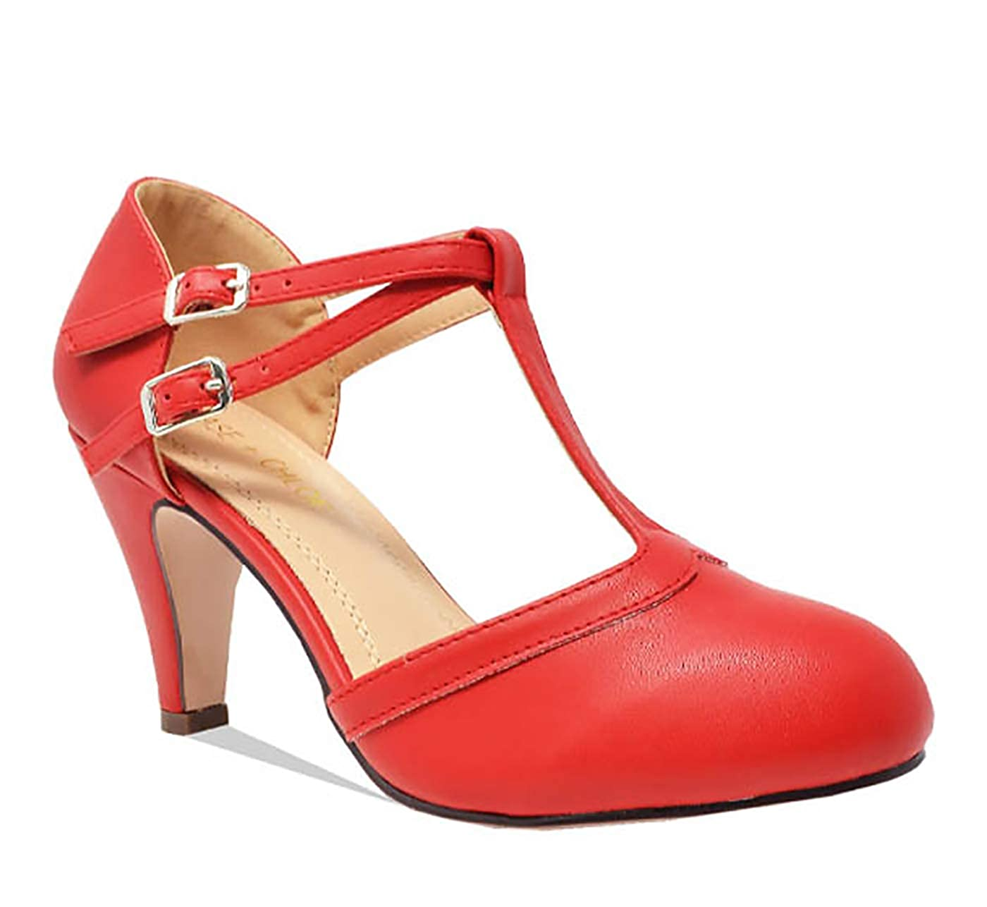 Vintage Style Shoes, Vintage Inspired Shoes Chase & Chloe Kimmy-58 Womens Mary Jane T-Strap Round Toe Pump $39.99 AT vintagedancer.com