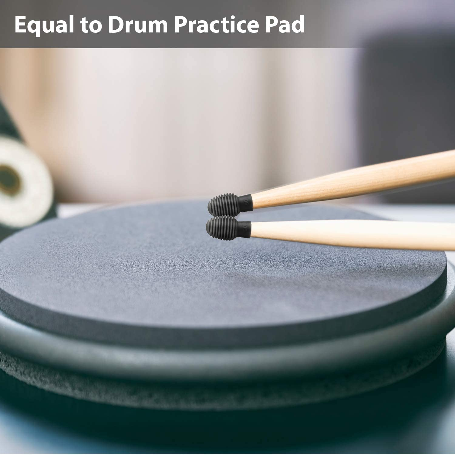 Black and Grey 8 Pieces Drum Mute Drumstick Silent Tip Drum Dampener Accessory Rubber Practice Percussion Tips Mute Replacement Drum Practice Tips