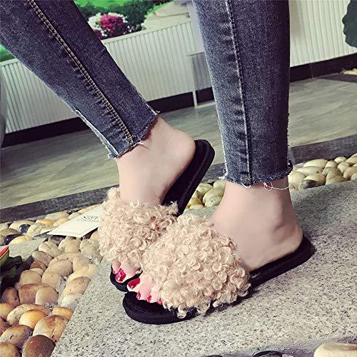 Ciabatte Sandal Pantofola Slip Soffice Donna Donna In Scarpe Piatto Ecologica Flops Da Flip Da Yesmile Casual Con Khaki Scarpe Spiaggia Pelliccia Basse Sandali On Pantofola Sliders A6rAvn