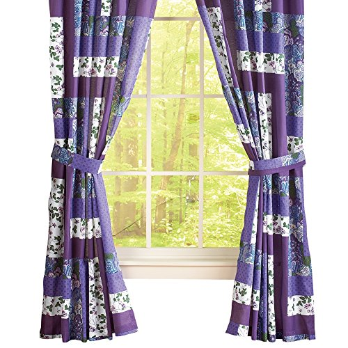 Collections Etc Caledonia Lavender Floral Patchwork Rod Pocket Window Curtains, Purple, Panel Pair ()