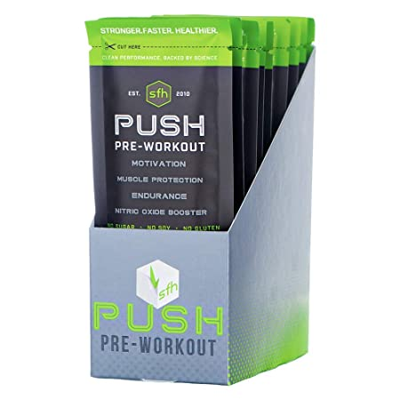 Push Pre-Workout Powder Fruit Punch by SFH Best Tasting 5g BCAA s for Muscle Repair Non-Dairy, No Artificial Flavors, Colors, or Sweeteners Single Serve