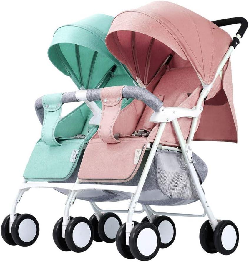 Cochecito Espacio de almacenamiento grande Cochecito doble, diseño plegable duradero y compacto (Color : Green+Pink)