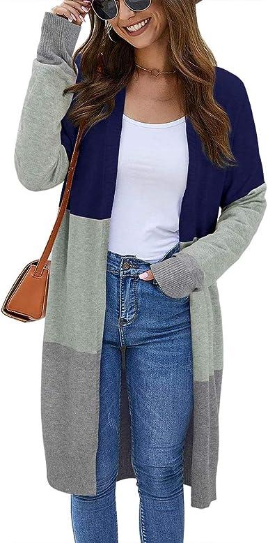 Vertvie Femme Cardigan Long en Tricot Veste Ouvert Manches Chauve-Souris Pull Gilet Chaud Casual Patchwork Manteau Sweater Hiver Chandail Outwear avec Poche