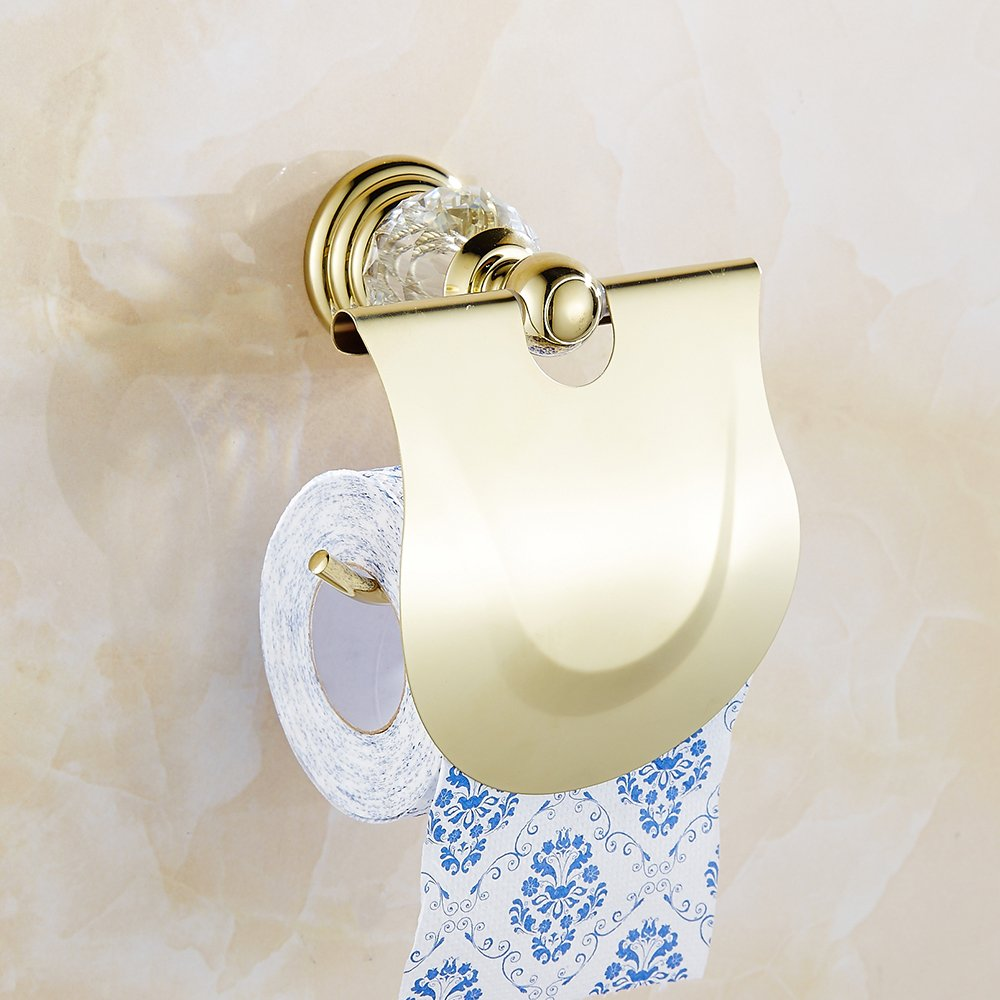 AUSWIND Antique Gold Toilet Paper Holder Brass&Crystal Wall Mounted Bathroom Accessory XH