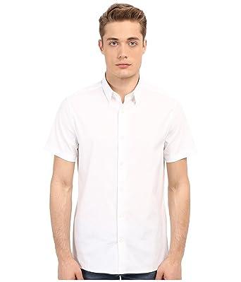 bed00442b Vince Men's Stretch Square Hem Short Sleeve Manhattan Shirt White Button-up  Shirt