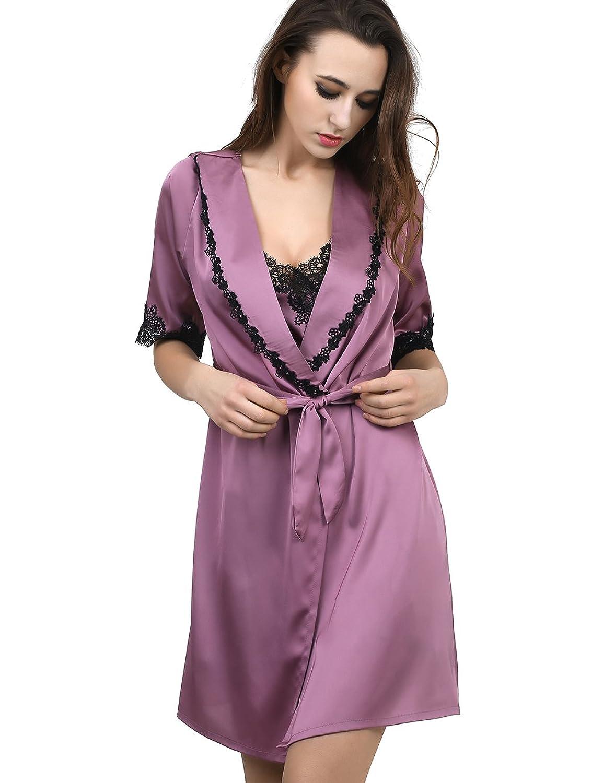 FAPIR Satin Women's Sexy Soft Robe and Nightgown Set Pajama Dress