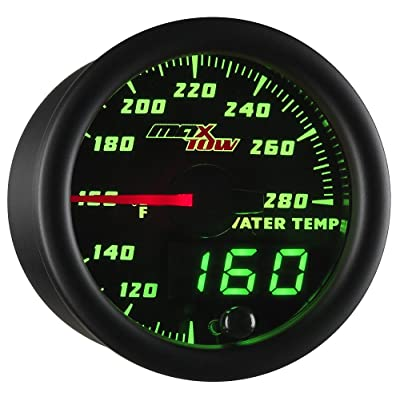 "MaxTow Double Vision 280 F Water Coolant Temperature Gauge Kit - Includes Electronic Sensor - Black Gauge Face - Green LED Illuminated Dial - Analog & Digital Readouts - for Trucks - 2-1/16"" 52mm: Automotive"