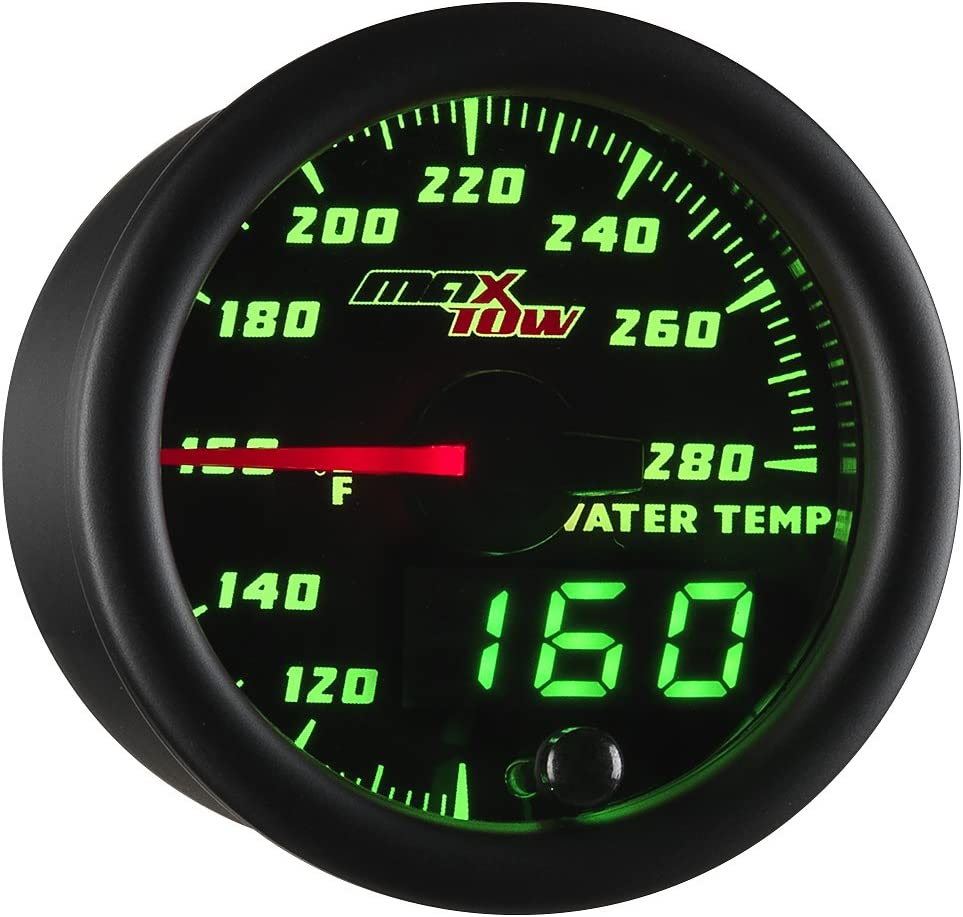 """MaxTow Double Vision 280 F Water Coolant Temperature Gauge Kit - Includes Electronic Sensor - Black Gauge Face - Green LED Illuminated Dial - Analog & Digital Readouts - for Trucks - 2-1/16"""" 52mm"""
