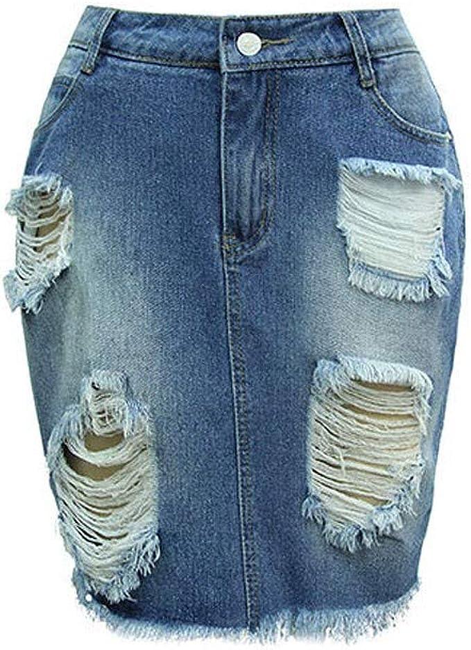 Faldas Mujer Verano Hole Cintura Alta Falda Ajustada Falda Corta ...