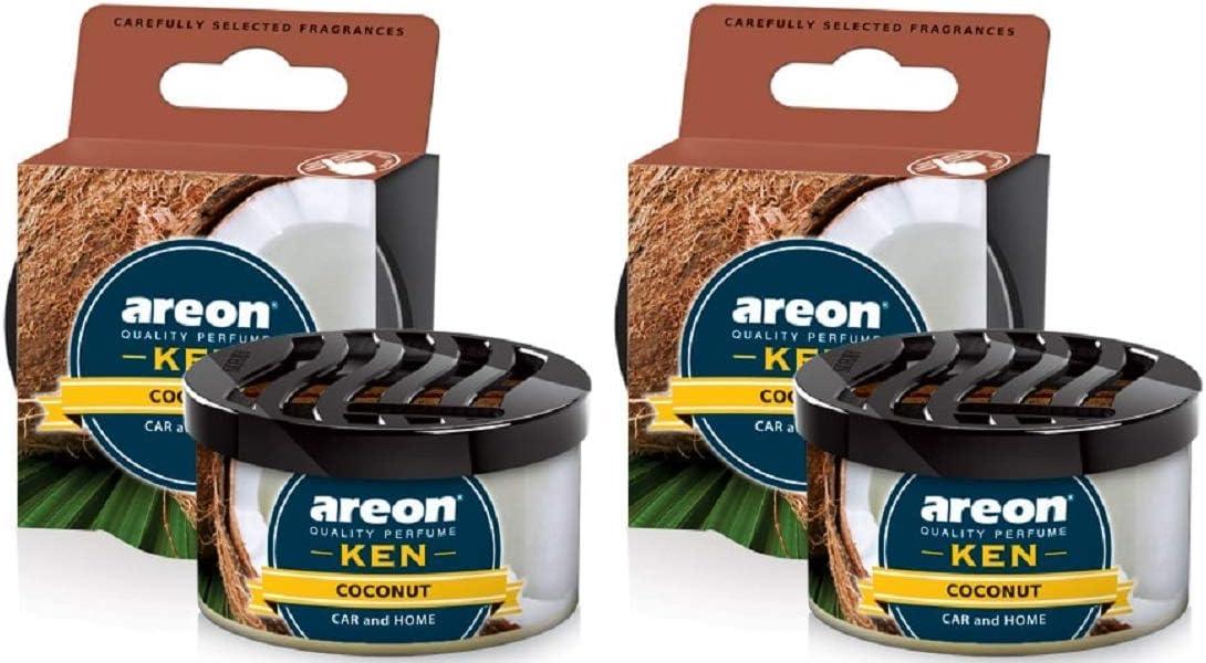 Areon Ken Lufterfrischer Dose Kokosnuss Auto Duft Autoduft Duftdose Wohnung Erfrischer 3d Set Coconut Pack X 2 Auto
