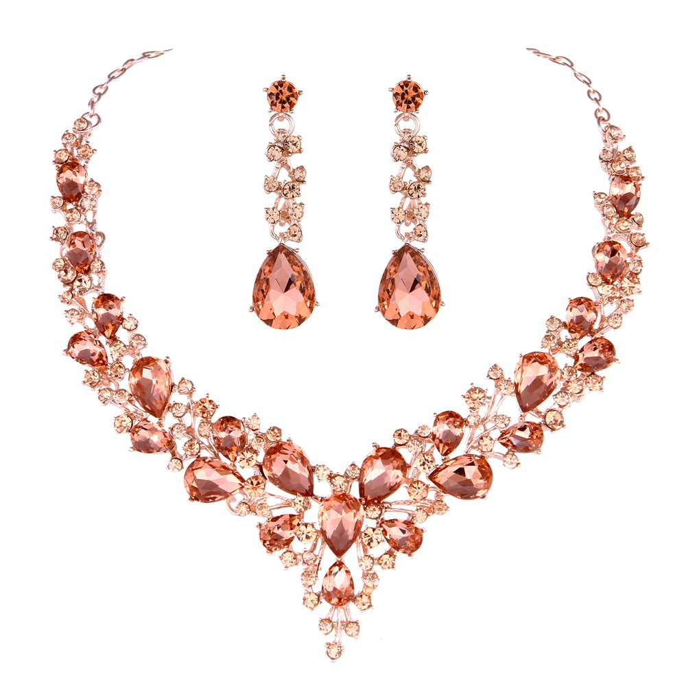 Youfir Bridal Austrian Crystal Necklace and Earrings Jewelry Set Gifts fit with Wedding Dress (Rose gold-Peach)