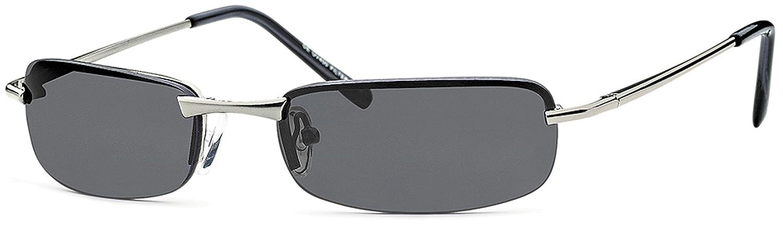 Herren Rechteck- Sonnenbrille Metallbrille mit Federscharnier UV400 Filter- Im Set mit Etui (Gestell: Anthrazit/ Gläser: Grau) lNEFT2pi