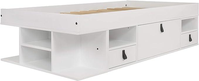 Cama Funcional Bali 90x190 cm Blanco - Estructura con Mucho Espacio de almacenaje y cajones, Ideal para dormitorios pequeños - Madera Maciza de Pino y ...
