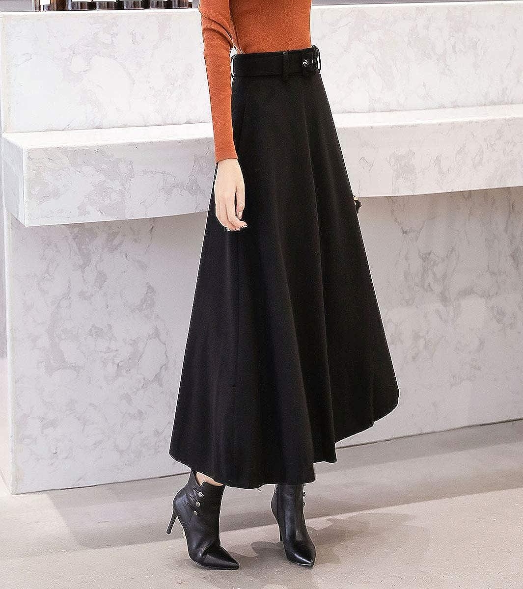Donna Vintage Elegante Lana Vita Alta Gonne A-Linea Colore Solido Inverno Autunno Caldo Lunga Gonna Cintura