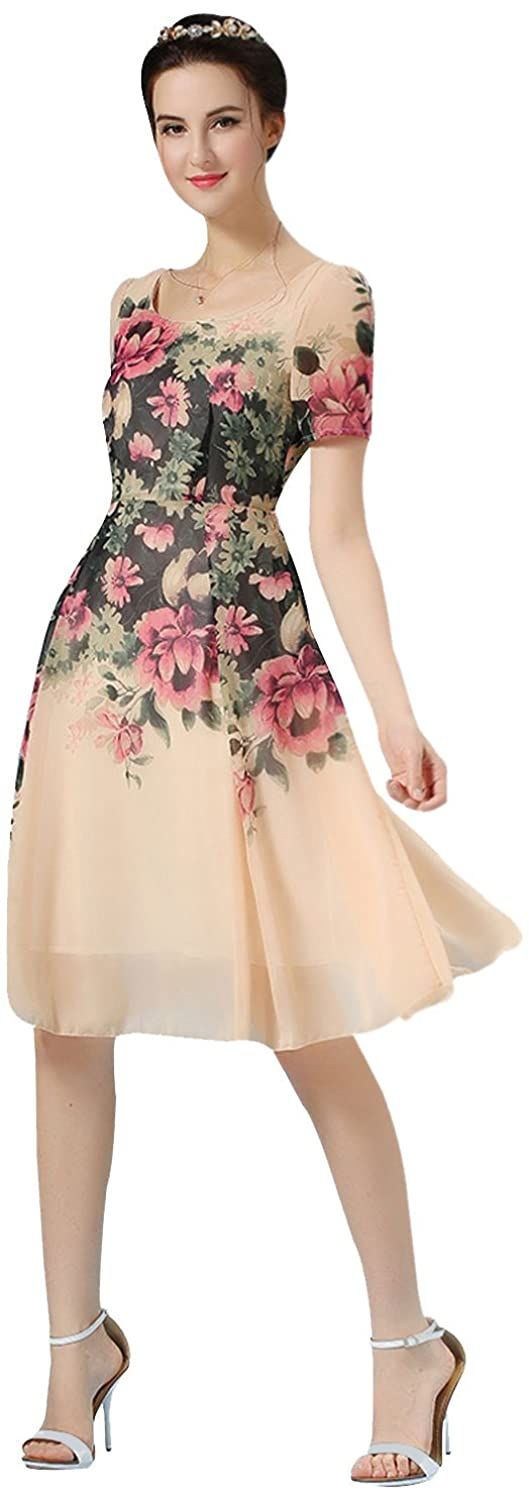 Bella Couture Women's Printed Floral Cocktail Party Short Sleeve Pink Chiffon Dress