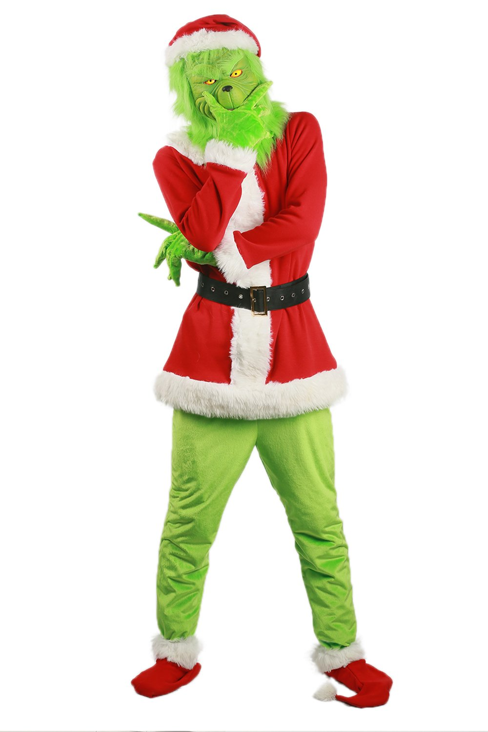 Grinch Cosplay Costume Green Mask Santa Hat Sock Full Set Outfits Christmas Prop
