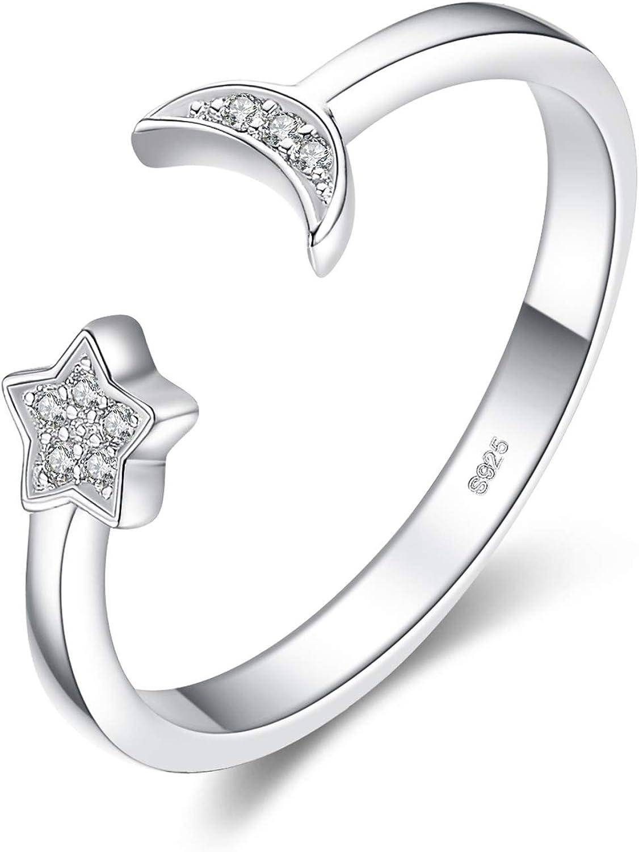 JewelryPalace Luna Estrella CZ Pave Zirconia cúbica Anillo abierto ajustable Plata de ley 925