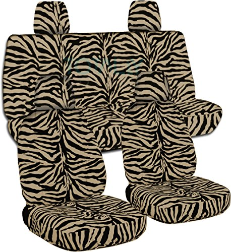 Totally Covers Fits 2011-2018 Jeep Wrangler JK Animal Print Seat Covers: Tan Zebra - Full Set: Front & Rear (29 Prints) 2012 2013 2014 2015 2016 2017 2-Door/4-Door Complete Back Solid/Split Bench