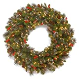 National Tree 30 Inch Crestwood Spruce Wreath with Silver Bristles, Cones, Red Berries and 50 Battery Operated Warm White LED Lights with Timer (CW7-309L-30W-B1)