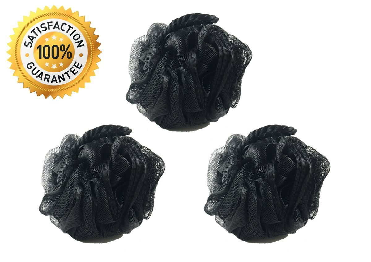 3 Pack Black Loofah by Monthly Loofy Exfoliating Soft Shower Sponge Bath Ball Mesh Luxury Pouf Set ( 50g /pcs) The Monthly Loofy Company
