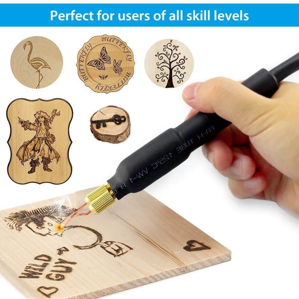 110V 60W Pyrography Machine Set Portable Multi-Function Wood Pyrography Crafts Kit Wood Burning Tool Set (Model-A) by MIFXIN (Image #5)