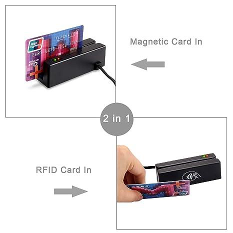 ZS100-RF 2-IN-1 Lector de Tarjetas magnéticas USB de Doble ...