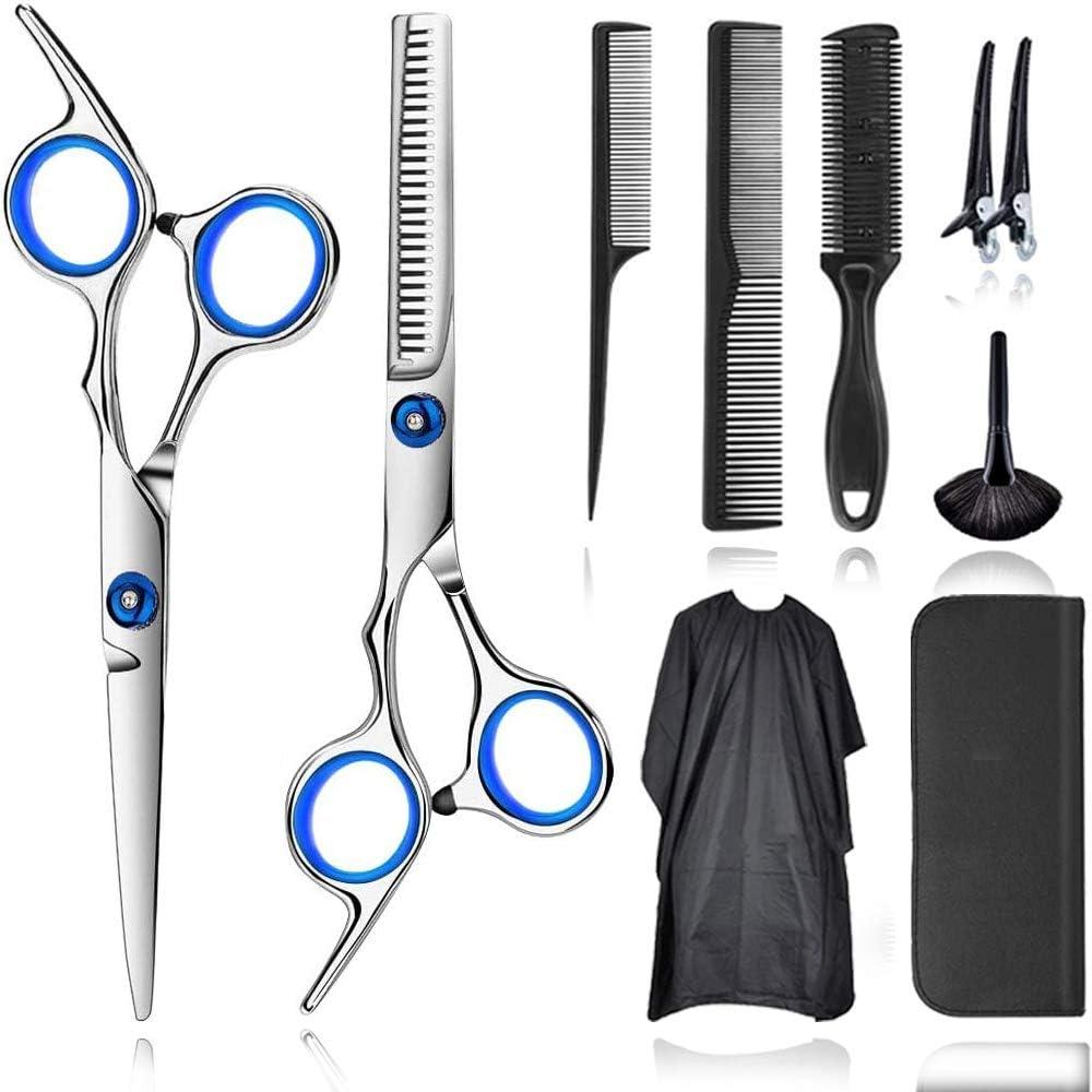 JOKBEN tijeras de peluquería, Tijeras Peluquelo Profesional para el cabello, Tijeras Peluqueria Profesional con capa de barbero y peine de maquinilla de afeitar, clips, set corte de pelo profesional