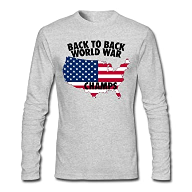 33d5e54ee Amazon.com: Men's Back to Back World War Champs 1 Long-Sleeve Cotton ...