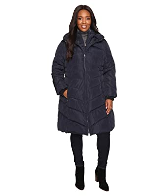 1e029b85f06 Jessica Simpson Women s Plus Size Chevron Quilted Poly Down Coat with Hood  Navy 1X at Amazon Women s Coats Shop
