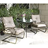 Cloud Mountain Bistro Table Set Outdoor Bistro Set Patio Furniture Set Wrought Iron Bistro Set Tempered Glass Square Table, Gradient Brown