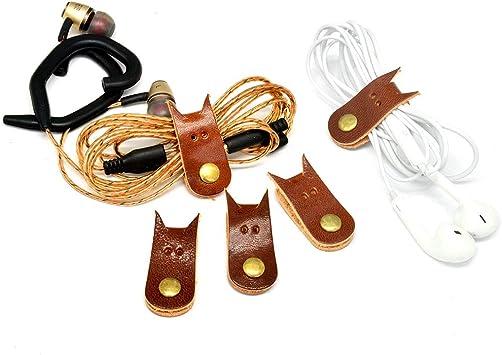 Auriculares Winder Cable de cuero correas cord/ón de piel clips de cable USB Apple Lightning Cable Ties Organizador 10/en un paquete auriculares Winder con piel hecho a mano