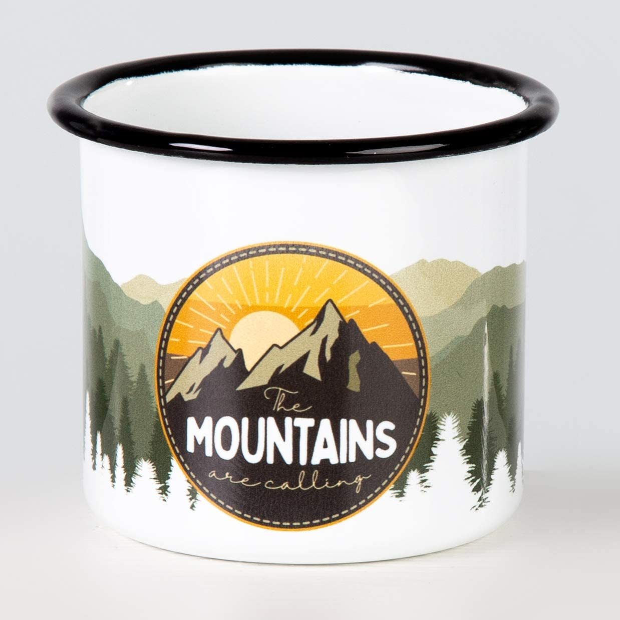 para camping y trekking de MUGSY.de ligera y a prueba de roturas Mountains Are Calling Taza esmaltada de alta calidad con dise/ño exterior de colores