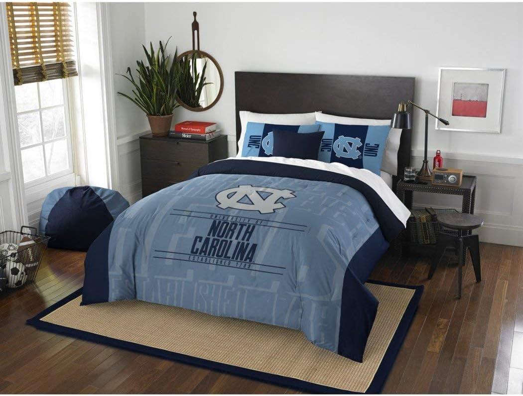 3 Piece NCAA University of North Carolina Tar Heels Comforter Full/Queen Set, Sports Patterned Bedding, Featuring Team Logo, Fan Merchandise, Team Spirit, College Basket Ball Themed, Blue, Unisex