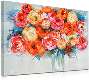 Flower Wall Decor Floral Wall-art : Abstract Canvas Artwork Floral Bouquet in Vase Painting for Living Room Framed and Easy to Hang(24x32in)