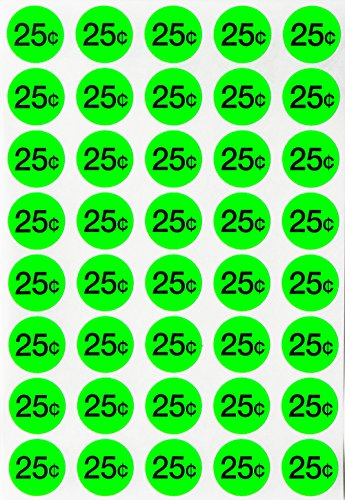 e sale labels - Preprinted pricing label Bright neon fluorescent green $0.25 cents + Bonus Blank Dots 3/4 19mm diameter - Pack of 1040 by Royal Green (Cents Blank)