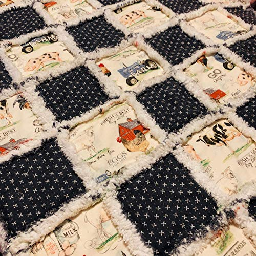Baby toddler rag quilt vintage farm scenes cows pigs chickens tractor-life on the -
