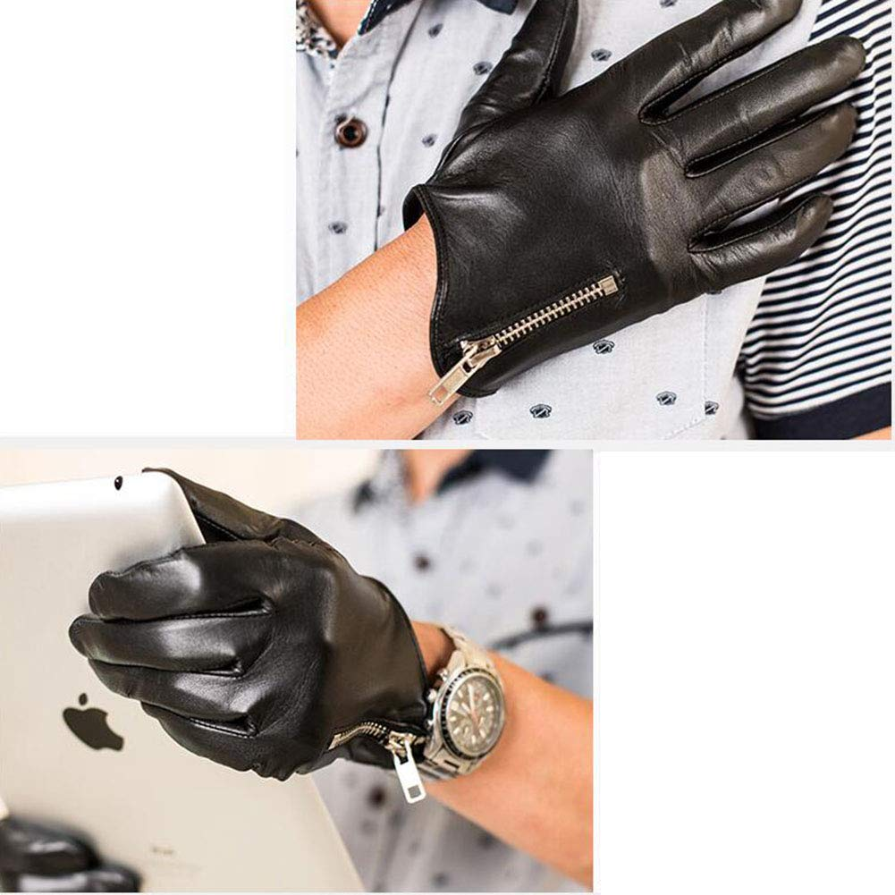 Color : Black, Size : XL Dall Gloves Gloves Touchscreen Mens Leather Mittens Driving Warm Lining Winter