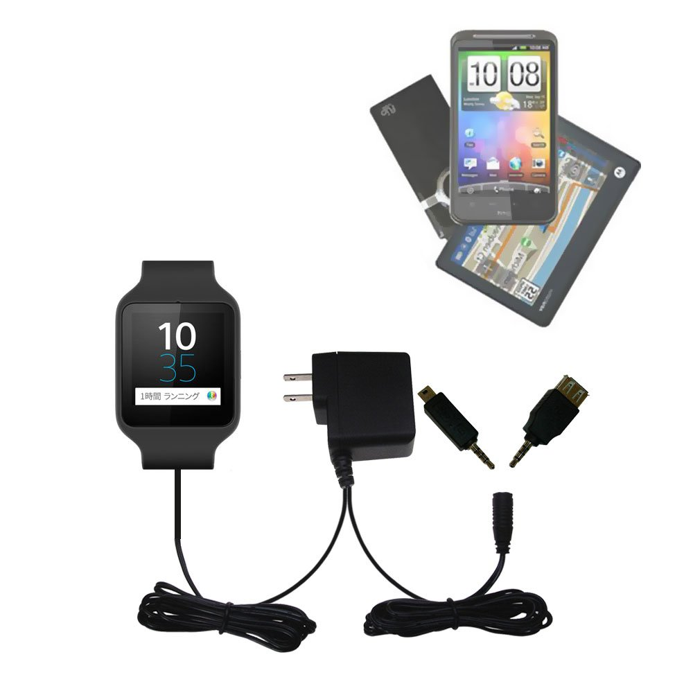 Gomadic Multi Port AC Home Wall Charger designed for the Sony SWR50 - Uses TipExchange to charge up to two devices at once