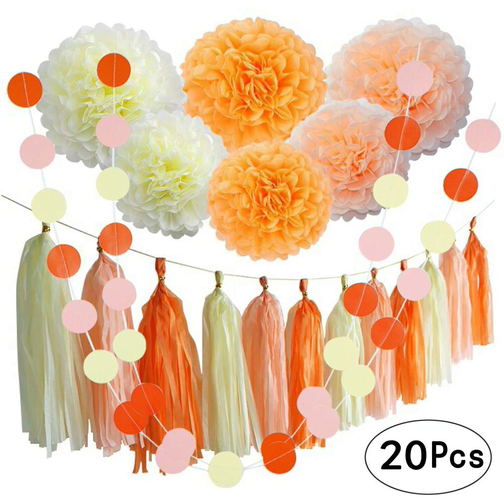 Orange Fall Party Hanging Decorations Thanksgiving Party Ceiling Hangings Wedding Decorations Tissue Paper Pom Poms Tassel Garlands Baby Shower