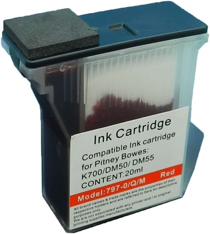 mailstation and mailstation2 Postage Meters 3PK Colour-Store Compatible 797-0 797-M Pitney Bowes Red Ink Cartridges for for K700