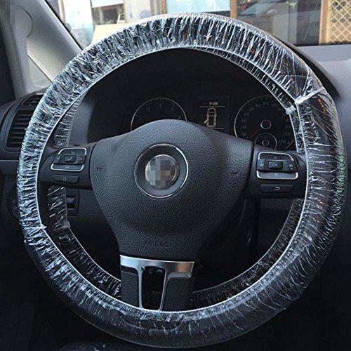 Moyishi 50Pcs Elastic Trim Disposable Truck Car Steering Wheel Covers Films (Plastic Wheel Cover)