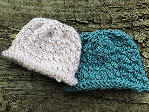 Preemie Baby or Doll Hats. Twin Set Hand Knitted Baby Beanies. Pink and Blue Small Baby Hats for Premature Babies or Twins. Free Shipping