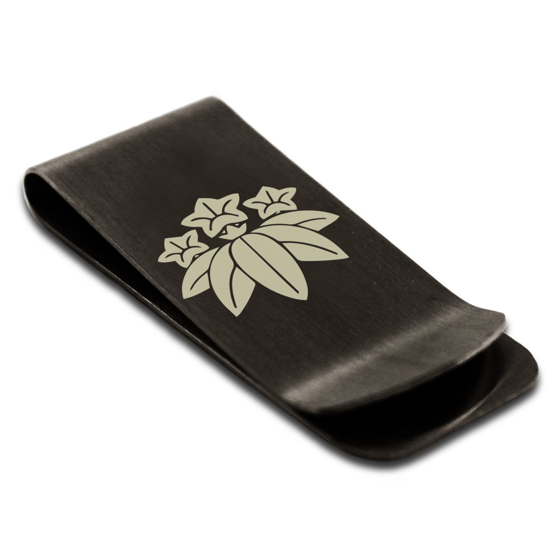 Stainless Steel Minamoto Samurai Crest Engraved Money Clip Credit Card Holder