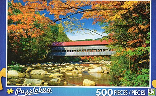 Red Roofed Covered Bridge - Puzzlebug -500 Pc Jigsaw Puzzle
