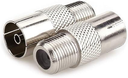 NANYI Acoplador coaxial hembra a macho, conector de rosca tipo T/F a adaptador de antena coaxial RF, chapado en níquel (hembra-hembra-2 unidades)
