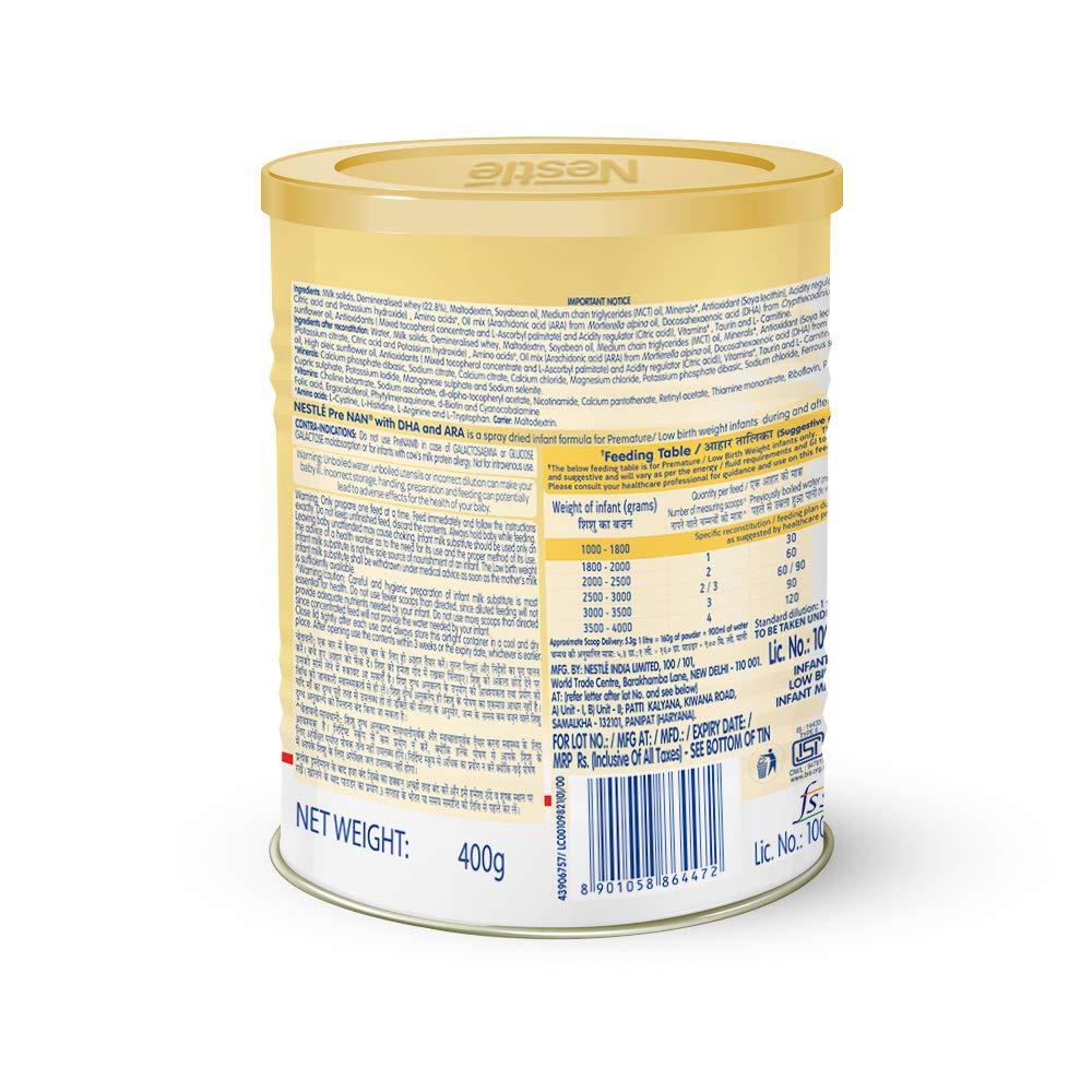 PRE NAN Low Birth Weight Infant Milk Formula 400g Tin pack