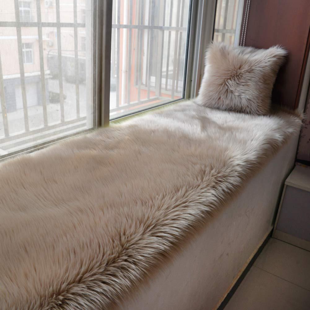 JiaQi Plush Bay Window mat,Soft Non-Slip Bay Window pad,Simple Modern Slipcover Sofa Cozy Non-Slip Tatami Machine Washable-E Pillowcase+Pillow40x40cm(16x16inch)