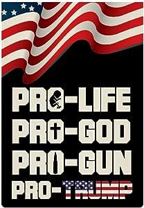 EVISUK Pro-Life Pro God Pro Gun Pro Trump 2020 Garden Flag Vertical Double Sided Linen Yard Outdoor Decor Flag 12.5 x 18.5 Inch