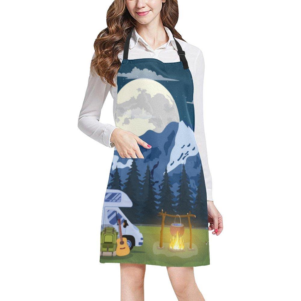 InterestPrint Adjustable Bib Apron with Pocket Camper Trailer Travel Night Big Moon Kitchen Apron for Cooking Baking Gardening