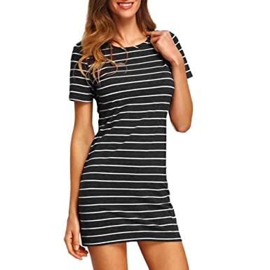 Yang-Yi Clearance, Hot 2018 Fashion Womens Stripe Short Sleeve Striped Loose T-